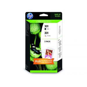 Pack de dos cartuchos HP 301 negro + HP 301 Tri-color + Papel + sobres