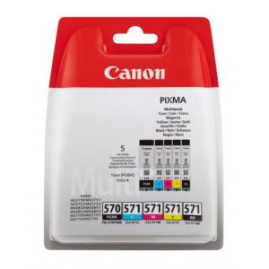 CANON Pack 5 Tintas (BK/C/M/Y) PGI-570/CLI-571 - 0372C004 - 15ml BK y 7 ml Color